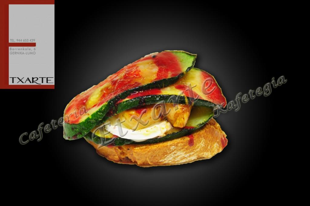 Pintxo de calabacín gratinado con queso de Rulo y Foie
